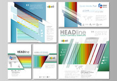 Social media posts set. Business templates. Vector layouts in popular formats. Bright color rectangles, colorful design Stock Image