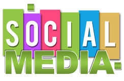 Social Media Professional Colourful. Social Media text over different colourful blocks stock illustration
