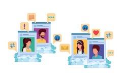 Social media profiles with speech bubble avatar carácter. Social media profiles with speech bubble avatar character vector illustration design stock illustration