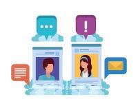 Social media profiles with speech bubble avatar carácter. Social media profiles with speech bubble avatar character vector illustration design vector illustration
