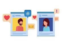 Social media profiles with speech bubble avatar character. Vector illustration design royalty free illustration