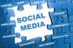 Social media puzzle Stock Photography