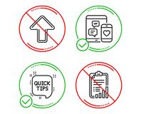 Social media, Quick tips and Upload icons set. Checklist sign. Mobile devices, Helpful tricks, Load arrowhead. Vector. Do or Stop. Social media, Quick tips and vector illustration