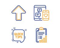 Social media, Quick tips and Upload icons set. Checklist sign. Mobile devices, Helpful tricks, Load arrowhead. Vector. Social media, Quick tips and Upload icons royalty free illustration