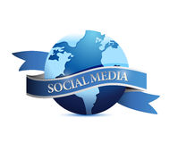Social media ribbon globe illustration design Stock Photography