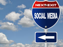 Social media road sign Royalty Free Stock Photos