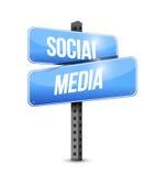 Social media road sign illustration design Stock Image