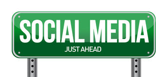 Social media road sign illustration Stock Images