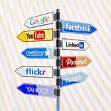 Social media road signs for Facebook,Twitter and other on PC screen Royalty Free Stock Image