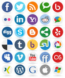 Social Media Round Buttons with Icons [1] Royalty Free Stock Photography