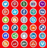 Social media round icon stickers Stock Photos