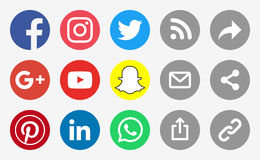 Social Media Round Icons and Share Buttons. 2017 January actual round and flat logos Royalty Free Stock Photography