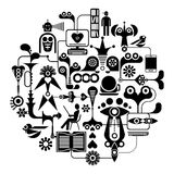 Social Media - round vector illustration Stock Images