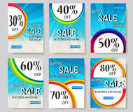 Social media sale banners. And ads web template collection. Vector illustrations for website and mobile website banners, posters, email and newsletter designs Stock Images