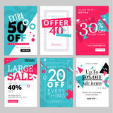 Social media sale banners, and ads web template set Royalty Free Stock Images