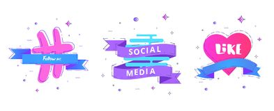 Social media, Like, Follow me text on geometric banners. Vector illustration. royalty free illustration