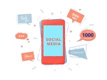Social media set of banners with lettering. Vector illustration. Social media set of banners with lettering isolated on white background. Phone and speech royalty free illustration