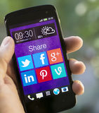 Social media share applications Stock Photos