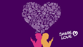 Social media share love lesbian concept design Royalty Free Stock Photos