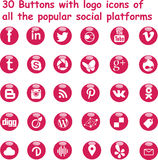 Social media shiny buttons magenta. 30 buttons with logos of all the popular social media platforms performed in actual magenta color with slight stylish shiny Royalty Free Stock Photo