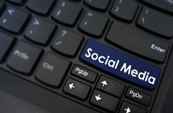 Social media shown on a keyboard button Royalty Free Stock Photo