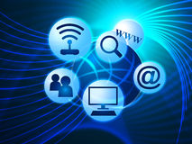 Social Media Shows World Wide Web And Blogging. Social Media Representing World Wide Web And Web Site Stock Photos