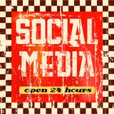 Social media sign. Vintage social media sign, grungy old style Royalty Free Stock Photo