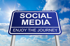 Social Media. Sign on blue sunny sky background Stock Images