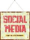Social media sign. Vintage social media sign, grungy old style Royalty Free Stock Photos