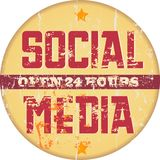 Social media sign. Vintage social media sign, grungy old style Royalty Free Stock Image