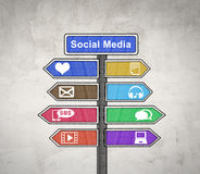Social media sign board Stock Image
