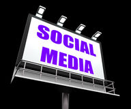 Social Media Sign Means Internet Communication Stock Image