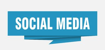 Social media. Sign.  paper origami speech bubble.  tag.  banner stock illustration