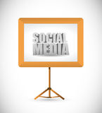 Social media sign on a white board. Stock Photography