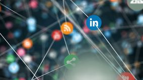 Social Media signs flying 4k animation