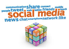 Social media signs. Social media keywords and colorful cube on white background vector illustration