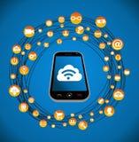 Social media smart phone network royalty free stock photo