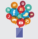 Social media on Smartphone Stock Photos