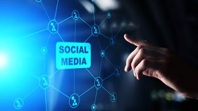 Social media, SMM, Marketing strategy and advertising concept on virtual screen. stock image
