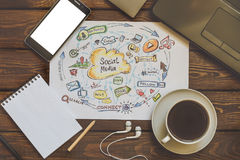 Social media and Social Network Marketing concept, top view Stock Images