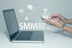 Social Media Social Networking Technology Connection Marketing. Social media networking marketing business concept in office Royalty Free Stock Images