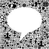 Social media speech bubble. Social media icons texture in speech bubble shape composition background. Vector file available Royalty Free Stock Image