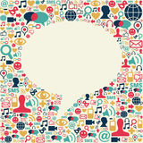 Social media speech bubble texture. Social media icons texture in speech bubble shape composition background. Vector file available Royalty Free Stock Photo