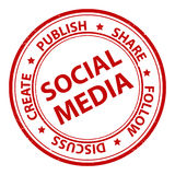 Social media stamp. Circular social media stamp in red on a white background