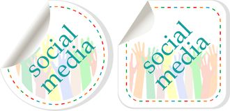 Social media sticker set with hands Stock Images