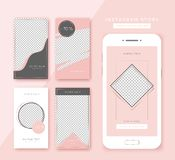 Social media stories templates set. Trendy backgrounds for social media, smartphone app. stock illustration