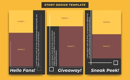 Social Media Story Design Template in black modern simple sporty theme for influencer, product, and brand promotion stock illustration