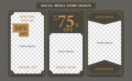 Instagram Social media story design template in vintage artdeco retro frame style for giveaway or product discount promotion royalty free illustration