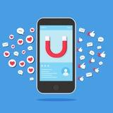Social media success. Social media marketing for business.  illustration. Flat design Royalty Free Stock Images
