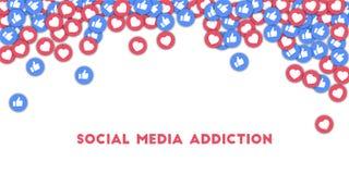 Social Media-Sucht Social Media-Ikonen im abstrakten Formhintergrund mit den zerstreuten Daumen oben und lizenzfreie abbildung